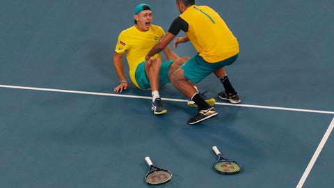 <p>               Alex De Minaur, left, and Nick Kyrgios of Australia winning a match point against Britain's Jamie Murray and Joe Salisbury during their ATP Cup tennis match in Sydney, Thursday, Jan. 9, 2020. (AP Photo/Steve Christo)             </p>
