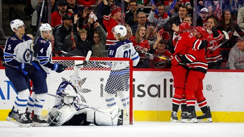 <p>               Carolina Hurricanes' Justin Williams (14), right, is congratulated on his goal by teammate Andrei Svechnikov (37), of Russia, during the third period of an NHL hockey game against the Winnipeg Jets in Raleigh, N.C., Tuesday, Jan. 21, 2020. (AP Photo/Karl B DeBlaker)             </p>