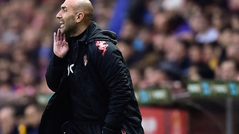 <p>               FILE - In this file photo dated Wednesday, Feb. 17, 2016, Sporting de Gijon's head coach Abelardo Fernandez, gives instructions during their Spanish La Liga soccer match against FC Barcelona, at El Molinon stadium, in Gijon, northern Spain.  Fernandez's new team Espanyol will host Lionel Messi's Barcelona on upcoming Saturday Jan. 4, 2020, in a debut for his new club. (AP Photo/Alvaro Barrientos, FILE)             </p>