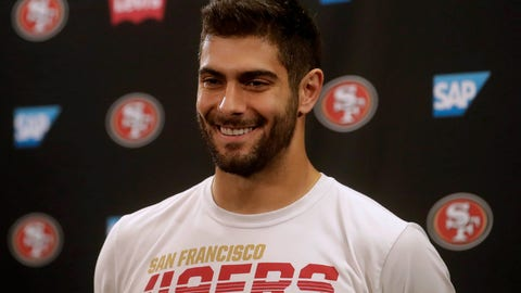 <p>               San Francisco 49ers quarterback Jimmy Garoppolo speaks during a news conference at the team's NFL football training facility in Santa Clara, Calif., Thursday, Jan. 23, 2020. The 49ers will face the Kansas City Chiefs in Super Bowl 54. (AP Photo/Jeff Chiu)             </p>