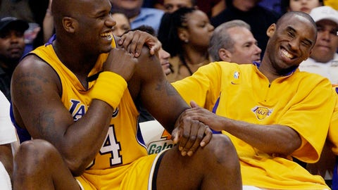 <p>               FILE - In this April 15, 2003, file photo, Los Angeles Lakers Shaquille O'Neal, left, and Kobe Bryant share a laugh on the bench while their teammate take on the Denver Nuggets during the fourth quarter at Staples Center in Los Angeles. Bryant, the 18-time NBA All-Star who won five championships and became one of the greatest basketball players of his generation during a 20-year career with the Los Angeles Lakers, died in a helicopter crash Sunday, Jan. 26, 2020. (AP Photo/Kevork Djansezian, File)             </p>