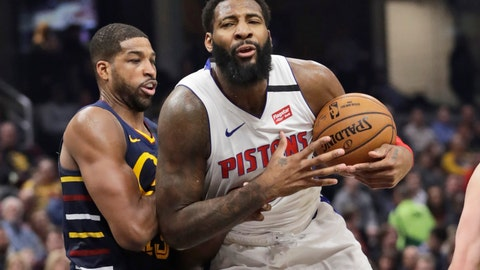 <p>               Detroit Pistons' Andre Drummond, right, drives against Cleveland Cavaliers' Tristan Thompson in the second half of an NBA basketball game, Tuesday, Jan. 7, 2020, in Cleveland. Detroit won 115-113.(AP Photo/Tony Dejak)             </p>