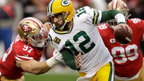 <p>               Green Bay Packers quarterback Aaron Rodgers (12) is sacked by San Francisco 49ers defensive end Nick Bosa (97) during the first half of the NFL NFC Championship football game Sunday, Jan. 19, 2020, in Santa Clara, Calif. (AP Photo/Ben Margot)             </p>