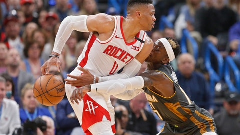 <p>               Oklahoma City Thunder guard Dennis Schroeder (17) knocks the ball away from Houston Rockets guard Russell Westbrook (0) during the first half of an NBA basketball game Thursday, Jan. 9, 2020, in Oklahoma City. (AP Photo/Sue Ogrocki)             </p>