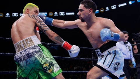 <p>               Danny Garcia punches Ukraine's Ivan Redkach during the second round of a welterweight boxing match Saturday, Jan. 25, 2020, in New York. Fulton won the fight. Hurd won the fight. (AP Photo/Frank Franklin II)             </p>