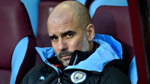 <p>               Manchester City's head coach Pep Guardiola looks out from the bench during warmup before the English Premier League soccer match between Aston Villa and Manchester City at Villa Park in Birmingham, England, Sunday, Jan. 12, 2020. (AP Photo/Rui Vieira)             </p>