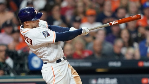 <p>               FILE - In this Oct. 22, 2019, file photo, Houston Astros' George Springer hits a home run during the seventh inning of Game 1 of the baseball World Series against the Washington Nationals in Houston.  Springer asked for a raise from $12.15 million to $22.5 million and was offered $17.5 million in the biggest gap. (AP Photo/David J. Phillip, File)             </p>