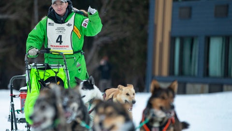 <p>               Ryan Redington pumped his fist as he crossed the finish line and officially winning the John Beargrease sled dog marathon on Tuesday, Jan. 28, 2020 in Grand Portage, Minn. Redington has won the John Beargrease Sled Dog Marathon for the second time in three years. (Alex Kormann/Star Tribune via AP)             </p>