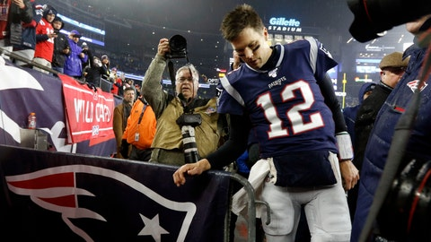 <p>               New England Patriots quarterback Tom Brady leaves the field after losing an NFL wild-card playoff football game to the Tennessee Titans, Saturday, Jan. 4, 2020, in Foxborough, Mass. (AP Photo/Bill Sikes)             </p>