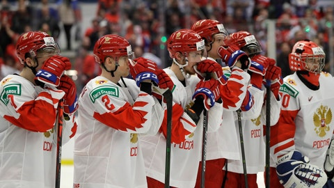 <p>               Russia's player stand on ice after loosing the U20 Ice Hockey Worlds gold medal match between Canada and Russia in Ostrava, Czech Republic, Sunday, Jan. 5, 2020. (AP Photo/Petr David Josek)             </p>