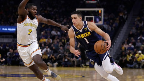 <p>               Denver Nuggets' Michael Porter Jr., right, drives the ball against Golden State Warriors' Eric Paschall (7) during the first half of an NBA basketball game Thursday, Jan. 16, 2020, in San Francisco. (AP Photo/Ben Margot)             </p>