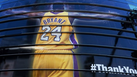 <p>               FILE - In this April 13, 2016 file photo a giant banner congratulating Kobe Bryant is draped around Staples Center before his last NBA basketball game, a contest against the Utah Jazz, in downtown Los Angeles. Bryant, a five-time NBA champion and a two-time Olympic gold medalist, died in a helicopter crash in California on Sunday, Jan. 26, 2020. He was 41. (AP Photo/Richard Vogel, file)             </p>