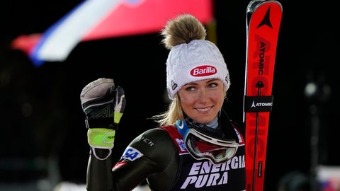 <p>               United States' Mikaela Shiffrin walks to the podium after taking second place in an alpine ski, women's World Cup slalom in Zagreb, Croatia, Saturday, Jan. 4, 2020. (AP Photo/Giovanni Auletta)             </p>