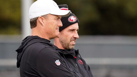<p>               San Francisco 49ers head coach Kyle Shanahan, right, watches as players practice with general manager John Lynch at the team's NFL football practice facility in Santa Clara, Calif., Wednesday, Jan. 15, 2020. The 49ers will host the Green Bay Packers for the NFC Championship on Sunday. (AP Photo/Tony Avelar)             </p>