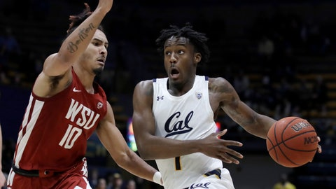 <p>               California's Joel Brown, right, drives the ball against Washington State's Isaac Bonton (10) during the second half of an NCAA college basketball game Thursday, Jan. 9, 2020, in Berkeley, Calif. (AP Photo/Ben Margot)             </p>