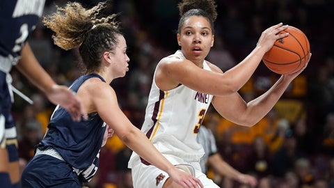 """<p>               In this Nov. 23, 2019, photo, Minnesota guard Destiny Pitts (3) lookesto pass the ball as Montana State guard Darian White (2) defends during an NCAA college basketball game in Minneapolis. Pitts said Thursday, Jan. 16, she is transferring after the Gophers suspended her for unspecified """"conduct unbecoming a member of the team."""" (Anthony Souffle/Star Tribune via AP)             </p>"""