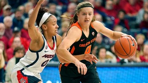 <p>               Oregon State guard Mikayla Pivec (0) drives against Arizona guard Amari Carter during the first half of an NCAA college basketball game Friday, Jan. 10, 2020, in Tucson, Ariz. (AP Photo/Rick Scuteri)             </p>