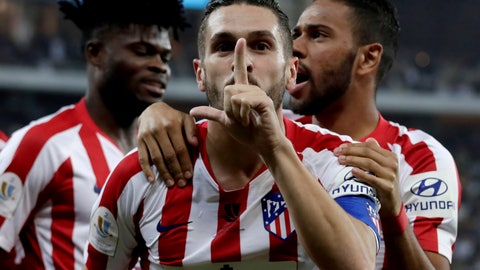 <p>               Atletico Madrid's Koke celebrates his goal with teammates during the Spanish Super Cup semifinal soccer match between Barcelona and Atletico Madrid at King Abdullah stadium in Jiddah, Saudi Arabia, Thursday, Jan. 9, 2020. (AP Photo/Hassan Ammar)             </p>
