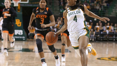 <p>               CORRECTS DATE Baylor guard Te'a Cooper drives to the basket past Oklahoma State guard Micah Dennis, left, on a fast break in the first half of an NCAA college basketball game, Sunday, Jan. 12, 2020, in Waco, Texas. (Rod Aydelotte/Waco Tribune Herald via AP)             </p>