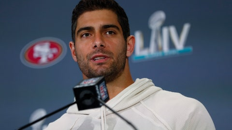 <p>               San Francisco 49ers quarterback Jimmy Garoppolo speaks during a media availability, Thursday, Jan. 30, 2020, in Miami, for the NFL Super Bowl 54 football game against the Kansas City Chiefs. (AP Photo/Wilfredo Lee)             </p>