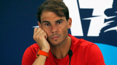 <p>               Rafael Nadal of Spain holds a press conference after losing to Novak Djokovic of Serbia during their ATP Cup tennis match in Sydney, Sunday, Jan. 12, 2020. (AP Photo/Steve Christo)             </p>