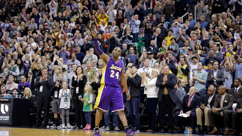 <p>               FILE - In this March 28, 2016, file photo, Los Angeles Lakers forward Kobe Bryant (24) waves as he walks off the court during the second half of an NBA basketball game in Salt Lake City. Bryant, the 18-time NBA All-Star who won five championships and became one of the greatest basketball players of his generation during a 20-year career with the Los Angeles Lakers, died in a helicopter crash Sunday, Jan. 26, 2020. (AP Photo/Rick Bowmer)             </p>