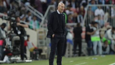 <p>               Real Madrid's head coach Zinedine Zidane looks on his team during the Spanish Super Cup Final soccer match between Real Madrid and Atletico Madrid at King Abdullah stadium in Jiddah, Saudi Arabia, Sunday, Jan. 12, 2020. (AP Photo/Hassan Ammar)             </p>
