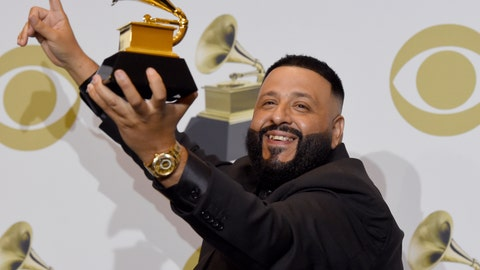 """<p>               DJ Khaled poses in the press room with the award for best rap/sung performance for """"Higher""""at the 62nd annual Grammy Awards at the Staples Center on Sunday, Jan. 26, 2020, in Los Angeles. (AP Photo/Chris Pizzello)             </p>"""