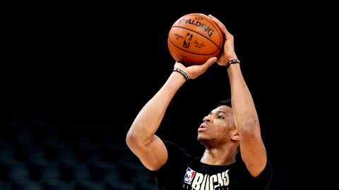 <p>               Milwaukee Bucks' Giannis Antetokounmpo shoots during a training session ahead of the NBA basketball game against Charlotte Hornets, in Paris, Thursday, Jan. 23, 2020. (AP Photo/Thibault Camus)             </p>