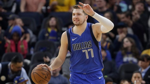 <p>               Dallas Mavericks forward Luka Doncic (77) dribbles upcourt against the Golden State Warriors during the first half of an NBA basketball game in San Francisco, Saturday, Dec. 28, 2019. (AP Photo/Jeff Chiu)             </p>