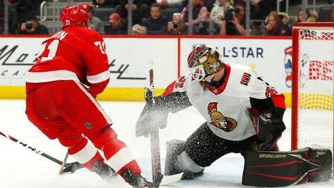 <p>               Detroit Red Wings center Dylan Larkin (71) scores against Ottawa Senators goaltender Marcus Hogberg (35) in the second period of an NHL hockey game Friday, Jan. 10, 2020, in Detroit. (AP Photo/Paul Sancya)             </p>