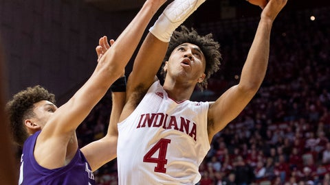 <p>               Indiana forward Trayce Jackson-Davis (4) drives to the basket as Northwestern forward Pete Nance (22) defends during the first half of an NCAA college basketball game Wednesday, Jan. 8, 2020, in Bloomington, Ind. (AP Photo/Doug McSchooler)             </p>