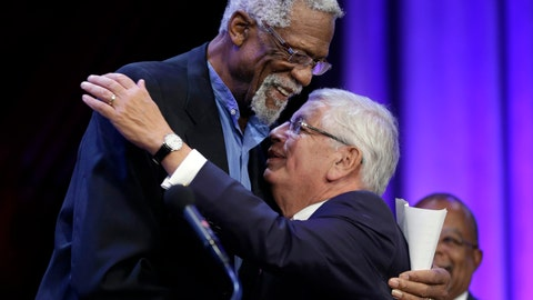 <p>               FILE - In this Wednesday, Oct. 2, 2013 file photo, Former Boston Celtics basketball player Bill Russell, left, hugs National Basketball Association Commissioner David Stern during an award ceremony for the W.E.B. Du Bois Medal at Harvard University, in Cambridge, Mass. David Stern, who spent 30 years as the NBA's longest-serving commissioner and oversaw its growth into a global power, has died on New Year's Day, Wednesday, Jan. 1, 2020. He was 77.  (AP Photo/Steven Senne, FGile)             </p>