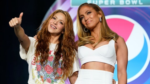 <p>               NFL Super Bowl 54 football game halftime performer Jennifer Lopez and Shakira pose for a picture after a news conference Thursday, Jan. 30, 2020, in Miami. (AP Photo/David J. Phillip)             </p>