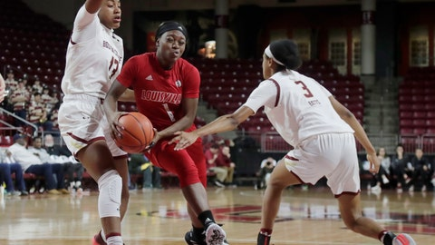 <p>               Louisville guard Dana Evans (1) drives to the basket between Boston College forward Taylor Soule (13) and guard Jaelyn Batts (3) during the first half of an NCAA college basketball game Thursday, Jan. 16, 2020, in Boston. (AP Photo/Elise Amendola)             </p>