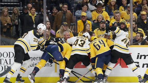 <p>               A group of Boston Bruins and Nashville Predators battle for the puck trapped against the boards in the second period of an NHL hockey game Tuesday, Jan. 7, 2020, in Nashville, Tenn. (AP Photo/Mark Humphrey)             </p>