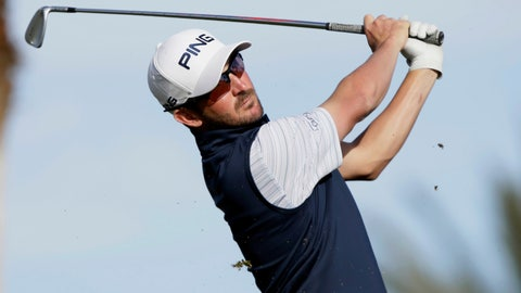 <p>               Andrew Landry hits from the eighth tee during the third round of The American Express golf tournament on the Nicklaus Tournament Course at PGA West in La Quinta, Calif., Saturday, Jan. 18, 2020. (AP Photo/Alex Gallardo)             </p>