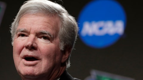 <p>               FILE - In this April 4, 2019, file photo, NCAA President Mark Emmert answers questions during a news conference at the Final Four college basketball tournament in Minneapolis. The NCAA will now permit elite athletes to be paid for training expenses by the U.S. Olympic Committee and other national governing bodies. The Division I Council adopted the legislation Wednesday, Jan. 22, 2020, at the NCAA convention and it is effective immediately. (AP Photo/Matt York, File)             </p>