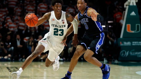 <p>               Miami guard Kameron McGusty (23) drives past Duke forward Wendell Moore Jr. (0) during the first half of an NCAA college basketball game, Saturday, Jan. 4, 2020, in Coral Gables, Fla. (AP Photo/Wilfredo Lee)             </p>