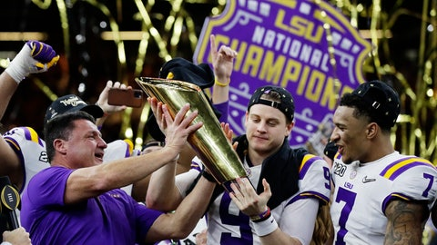 <p>               LSU head coach Ed Orgeron, left, and quarterback Joe Burrow, center, hold the trophy beside safety Grant Delpit after a NCAA College Football Playoff national championship game against Clemson, Monday, Jan. 13, 2020, in New Orleans. LSU won 42-25. (AP Photo/Sue Ogrocki)             </p>