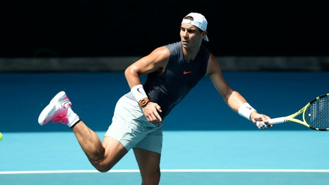 <p>               Spain's Rafael Nadal kicks at the ball during a practice session ahead of the Australian Open tennis championship in Melbourne, Australia, Sunday, Jan. 19, 2020. (AP Photo/Dita Alangkara)             </p>