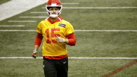<p>               Kansas City Chiefs quarterback Patrick Mahomes participates in a drill at NFL football practice Thursday, Jan. 23, 2020 at in Kansas City, Mo. The Chiefs will face the San Francisco 49ers in Super Bowl 54. (AP Photo/Charlie Riedel)             </p>