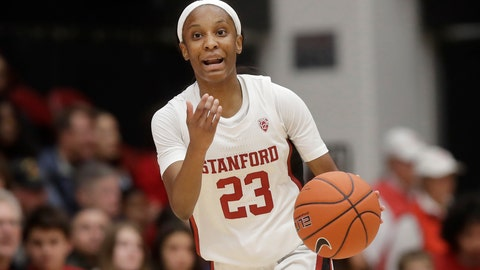 <p>               Stanford guard Kiana Williams (23) gestures to teammates while bringing the ball up against Washington State during the first half of an NCAA college basketball game in Stanford, Calif., Friday, Jan. 3, 2020. (AP Photo/Jeff Chiu)             </p>
