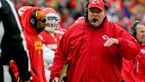 <p>               FILE - In this Sunday, Dec. 29, 2019 file photo, Kansas City Chiefs head coach Andy Reid talks to down judge Tom Stephan (68), during the second half of an NFL football game against the Los Angeles Chargers in Kansas City, Mo. Of the coaches in the NFL's Final Four, Andy Reid is the outlier. Only Kansas City's coach has been the head man in a Super Bowl. Only Reid is close to having a Hall of Fame-worthy resume. Only Reid has been around for a couple of decades.  (AP Photo/Ed Zurga. File)             </p>