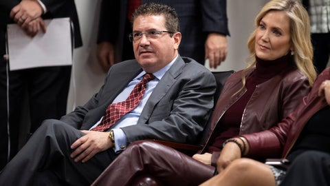 <p>               Washington Redskins owner Dan Snyder, left, and his wife Tanya Snyder, listen to head coach Ron Rivera during a news conference at the team's NFL football training facility, Thursday, Jan. 2, 2020 in Ashburn, Va. (AP Photo/Alex Brandon)             </p>