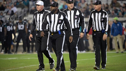 <p>               FILE - In this Dec. 8, 2019, file photo, referee Bill Vinovich, left, field judge Mearl Robinson (31), umpire Bruce Stritesky (102) and line judge Mark Perlman (9) walk to the sideline after a play during the second half of an NFL football game between the Jacksonville Jaguars and the Los Angeles Chargers, in Jacksonville, Fla. Save the outrage for something else. NFL officiating won't get any better this weekend, or anytime soon _ because it can't. (AP Photo/Phelan M. Ebenhack, File)             </p>