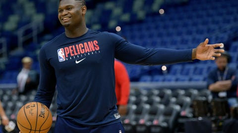 <p>               New Orleans Pelicans forward Zion Williamson (1) practices before an NBA basketball game between the New Orleans Pelicans and the Los Angeles Clippers in New Orleans, Saturday, Jan. 18, 2020. Williamson is expected to return to play Wednesday against the San Antonio Spurs. (AP Photo/Matthew Hinton)             </p>