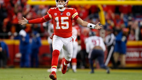 <p>               Kansas City Chiefs quarterback Patrick Mahomes (15) celebrates after throwing a touchdown pass during the second half of an NFL divisional playoff football game against the Houston Texans, in Kansas City, Mo., Sunday, Jan. 12, 2020. (AP Photo/Jeff Roberson)             </p>