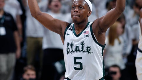 <p>               Michigan State's Cassius Winston reacts after sinking a three-point basket against Michigan during the second half of an NCAA college basketball game, Sunday, Jan. 5, 2020, in East Lansing, Mich. (AP Photo/Al Goldis)             </p>