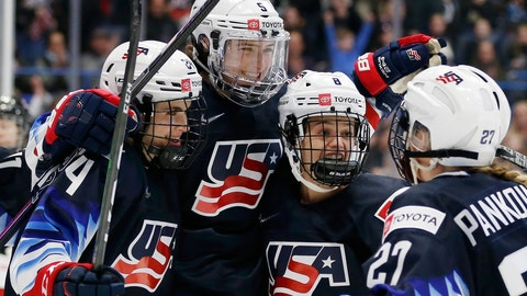 <p>               United States' Megan Keller (5) celebrates her goal with Dani Cameranesi (24), Emily Matheson (8) and Annie Pankowski (27) during the first period of a rivalry series women's hockey game against Canada in Hartford, Conn., Saturday, Dec. 14, 2019. (AP Photo/Michael Dwyer)             </p>